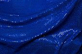 Blue Sequined Draped Fabric Background