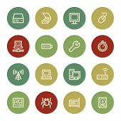 Computer components web icon set 2, vintage color