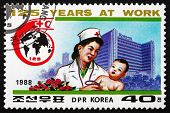 Postage Stamp North Korea 1988 Doctor Examining Child