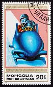 Postage Stamp Mongolia 1990 4-man Bobsled