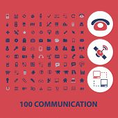100 communication icons, signs, objects set, vector