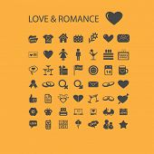 love, romance, family icons, signs, objects set, vector