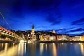 Lyon, France, viewed at night across the Saone River.