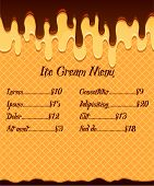 Ice Cream Menu Or Price Poster On Vanilla Ice Cream In Mouthwatering Chocolate Glaze Background