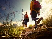 stock photo of wild adventure  - Group of hikers walking in mountains - JPG