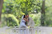 Bride Whispering To Groom In A Park On A Bridge