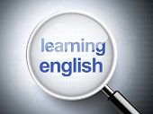 Magnifying Glass With Words Learning English