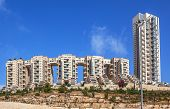 JERUSALEM, ISRAEL - JULY 13, 2014: Holyland Towers - complex of modern luxury apartment buildings with magnificent view of Jerusalem. Construction began in 1995 on ancient Bronze Age burial ground.