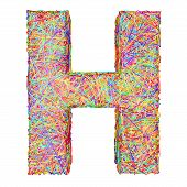 Alphabet Symbol Letter H Composed Of Colorful Striplines