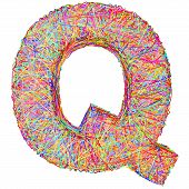 Alphabet Symbol Letter Q Composed Of Colorful Striplines