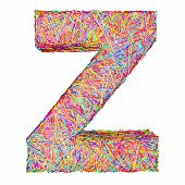 Alphabet Symbol Letter Z Composed Of Colorful Striplines