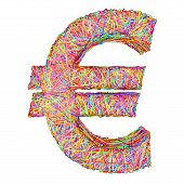 Euro Sign Composed Of Colorful Striplines Isolated On White