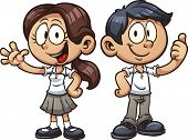 Cartoon school kids in uniform. Vector clip art illustration with simple gradients. Each on a separate layer.