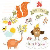 set of back to school elements, vector illustrations