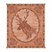 stock photo of woodcarving  - Deer and oak leaves and acorns woodcarving hunting theme vintage vector illustration - JPG