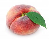 Chinese Flat Donut Peach With Leaf On White