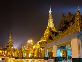stock photo of yangon  - Shwedagon pagoda at night Yangon Myanmar  - JPG