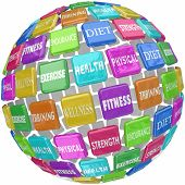 Fitness words on colorful tiles in a ball or sphere, including diet, exercise, health, wellness, tra