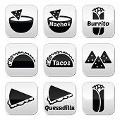 Mexican food buttons - tacos, nachos, burrito, quesadilla
