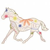 Vintage horse runs trot