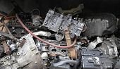foto of scrap-iron  - Pile of scrap metal from engines and car parts - JPG