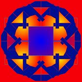 Colored Geometrical  Figures On  Red Background