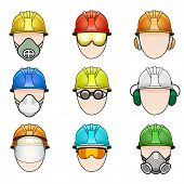 image of protective eyewear  - Vector set of colorful human icon with various protective workwear - JPG