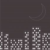 Silhouette Of The Night City. Dash Line Moon In The Sky. Flat Design.