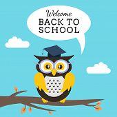 Cartoon School Owl Vector Background. Back To School Illustration.