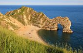 Durdle Door And Sandy Beach, Dorset Landmark