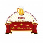 Beer label on a red ribbon - vector illustration