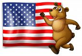 Illustration of an American flag with bear running