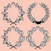 Set Of Vector Wreath Of Laurel And Oak Leaves