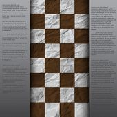 vintage crack paper scratched empty chess board. abstract grunge background