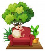 Illustration of a hedgehog sitting on a sofa