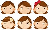 Illustration of different emotions of a brown hair girl