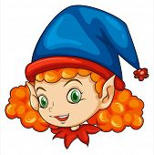 Illustration of an elf wearing a blue hat on a white background