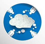 Speech Bubbel With People On Circle Blue Background