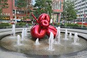 Red Balloon Flower by Jeff Koons at 7 World Trade Center