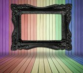 Black Old Frame In Colorful Wood Room