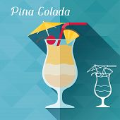 foto of pina-colada  - Illustration with glass of pina colada in flat design style - JPG