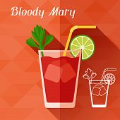 Illustration with glass of bloody mary in flat design style.