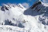 pic of helicopters  - ski resort in the mountains - JPG