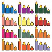 Set of Christmas icons candles in a simplified style vector.
