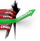 Control word on a green arrow rising over a problem or trouble while Chaos on red arrows plunge into