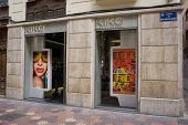 VALENCIA, SPAIN - AUGUST 7, 2014: A Kiko Milano cosmetics store in Valencia. Kiko Milano, founded in 1997, is a trendy, affordable cosmetics brand from Italy.