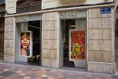 VALENCIA, SPAIN - AUGUST 7, 2014: A Kiko Milano cosmetics store in Valencia. Kiko Milano, founded in 1997, is a trendy, affordable cosmetics brand from Italy.