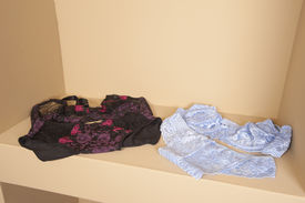 stock photo of womens panties  - Display if luxury womens lingerie on display shelf in retail fashion shop - JPG