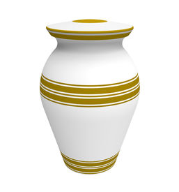 pic of urn funeral  - Cremation white urn 3d render isolated on white - JPG