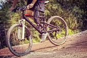 Handicapped Mountain Bike Rider Downhill Track